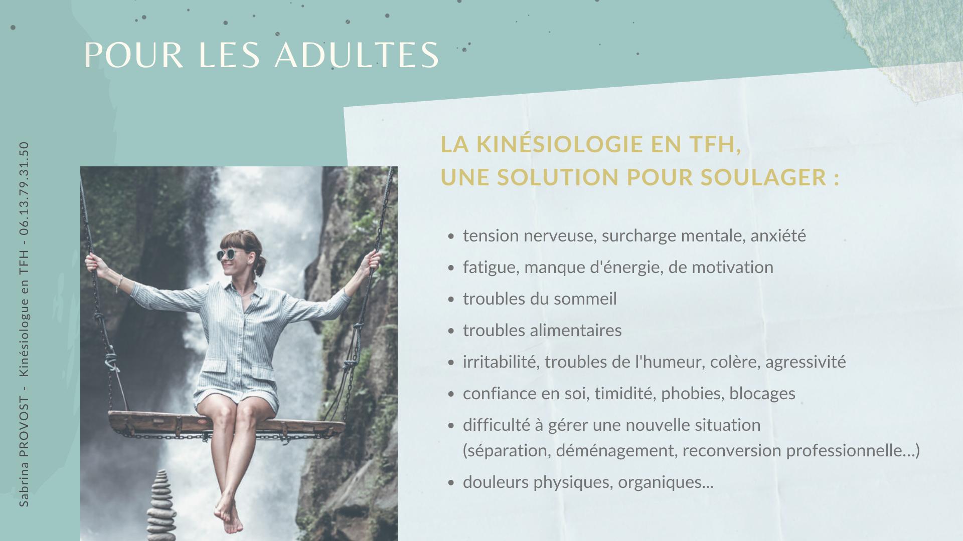 La kinésiologie en TFH, pour les adultes