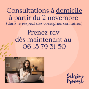 Sabrina Provost Kinésiologie TFH Informations confinement novembre 2020