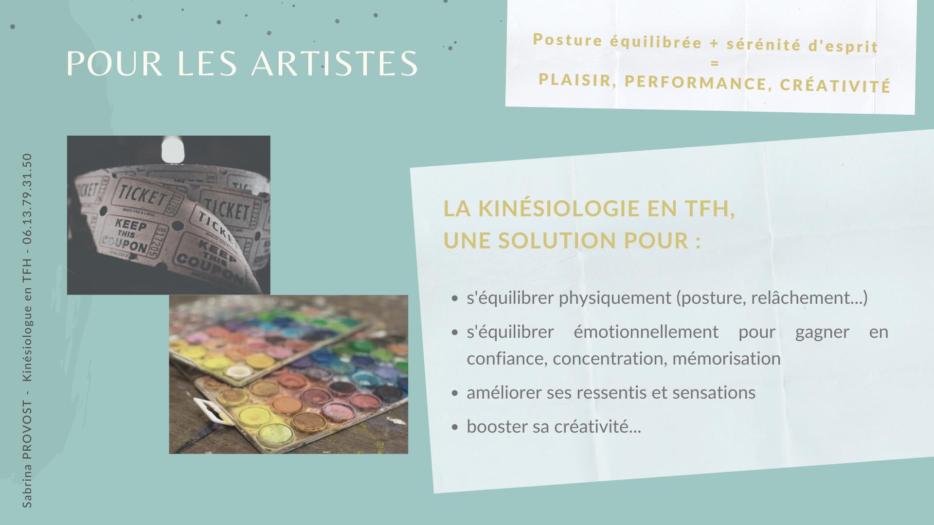 La kinésiologie en TFH, pour les artistes